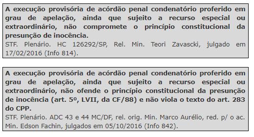 P. Penal - Execução provisória da sentença - jurisprudência