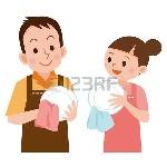 63208950-пара-вытирать-посуду