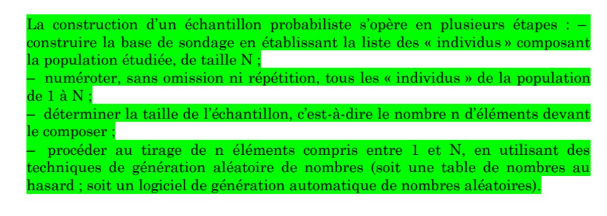 Construction échantillonnage probabiliste
