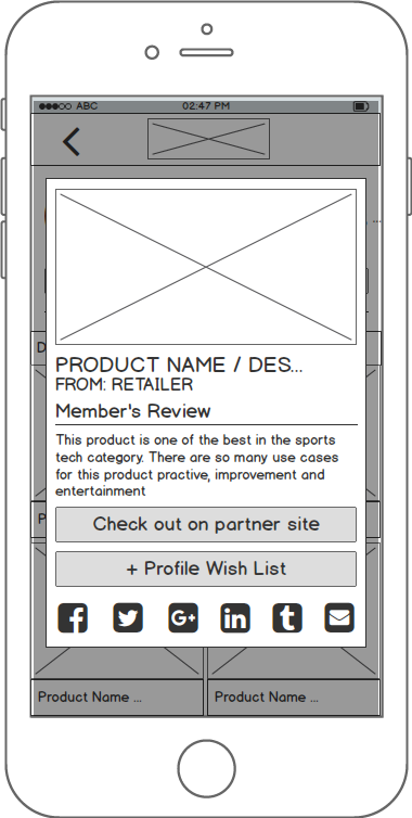 Public Profile Page with product highlighted