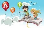 12349570-una-ilustración-vectorial-de-dos-niños-aprenden-alfabeto