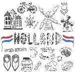 krabbelhand-getrokken-inzameling-van-de-pictogrammen-van-holland-de-cultuurelementen-van-nederland-voor-ontwerp-vectorillustratie-55199841