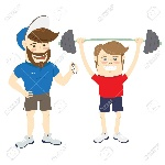 60566127-vector-illustration-bearded-fitness-personal-trainer-instructor-and-funny-sportsman-doing-lifting-ba-Stock-Photo