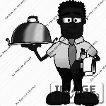 28480-clip-art-graphic-of-a-geeky-african-american-businessman-cartoon-character-serving-a-platter-by-toons4biz