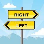 yellow-direction-sign-pointing-opposite-directions-words-right-left-blue-sky-background-37919336