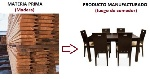 Materia prima a producto manufacturado (madera a juego de comedor)