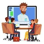 vetor-em-linha-da-videoconferência-homem-e-bate-papo-o-diretor-comunica-se-com-pessoal-webinar-reunião-de-negócios-consulta-104260494