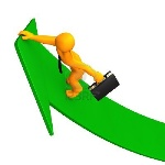 15933784-orange-cartoon-character-climbs-on-the-green-arrow-white-background