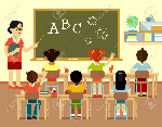 65933892-young-teacher-woman-in-classroom-and-multicultural-kids-group-sit-at-desks-isolated-on-white-backgro