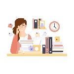 oficinista-de-la-mujer-en-cubículo-de-la-oficina-con-demasiado-trabajo-que-tiene-su-personaje-de-dibujos-animados-rutinario-82822866