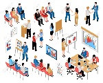 81890430-business-education-and-coaching-isometric-icons-set-with-coming-to-training-and-business-seminar-vec