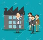 62889060-el-hombre-de-negocios-empresaria-de-dibujos-animados-icono-de-megáfono-y-compañía-negocios-y-tema-de-solu