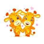 emoji-tem-data-deixou-s-sair-emoticon-da-etiqueta-do-girafa-dos-amigos-dos-desenhos-animados-do-caráter-87889180