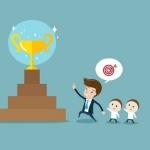 31726306-ポイントしをターゲットに信者をリードの実業家。リーダーシップ、目標、目標、達成、チームワークやモチベーションの概念ベクトルの漫画-