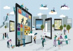 A-team-of-people-work-creatively-together-building-giant-digital-tablets