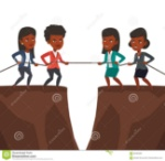 two-groups-business-people-pulling-rope-african-team-cliff-competition-teams-concept-competition-83463282