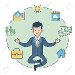 63746159-el-hombre-de-negocios-lineal-levitar-piso-en-zen-plantear-y-lámpara-la-casa-la-familia-de-silueta-dine