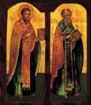 Icon_02036_Svyatiteli_Ioann_Zlatoust_i_Grigorij_Bogoslov._Ikona_XVIII_v._Rossiya