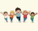 feliz-dia-ninos-nino-grupo-dibujos-animados-sonriendo-divertido_18591-17668