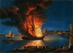 PaintingOfPirateShipBurningInTripoliHarbor1804