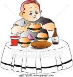 vector-of-fat-boy-eating-burger_gg83753339