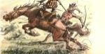 Caballos de la Conquista. Acuarela de Enrique Castell Capurro
