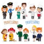 81722910-niños-felices-en-uniforme-profesional-de-bombero-cocinero-médico-piloto-azafata-enfermera-oficial-de-poli