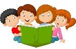 cartoon-kids-reading-book-illustration-50763280