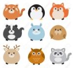 52414368-vector-illustration-d-animaux-mignons-potelées-y-compris-le-panda-rouge-pingouin-le-renard-la-mouff