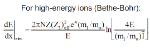 high energy ions electronic stopping Bethe Bohr
