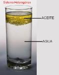 vaso con agua y aceite