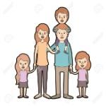 78109458-caricatura-de-color-claro-contorno-grueso-grandes-padres-de-familia-con-niño-en-su-espalda-y-daugthers-