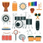 71346464-vector-percussion-musical-instruments-in-flat-style-
