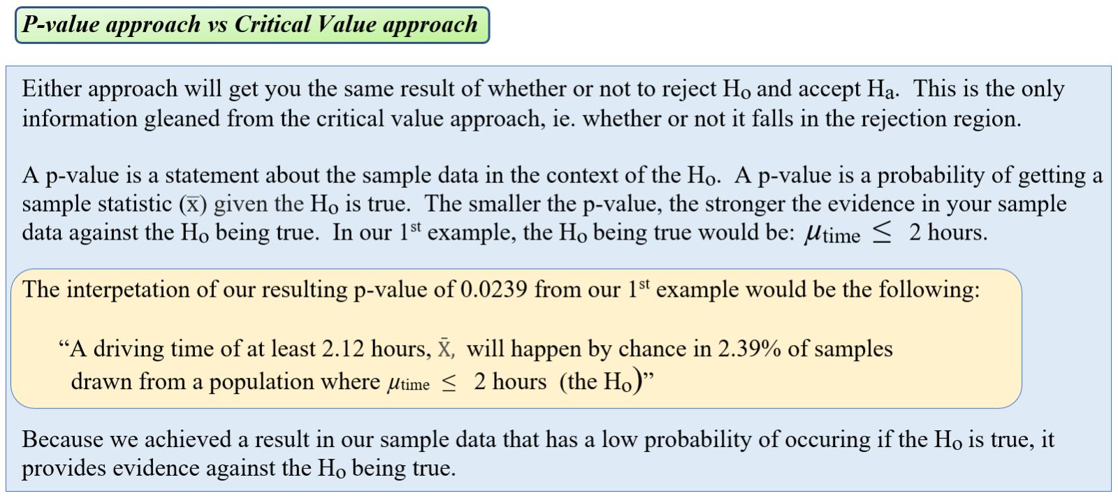 p-value vs. critical