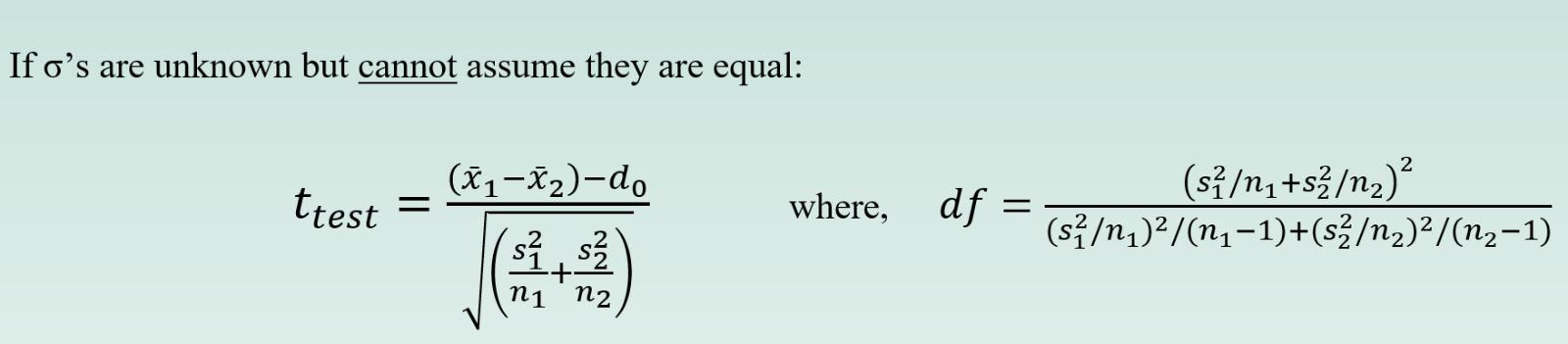 sigmas unknown unequal