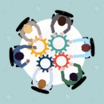 32133821-business-team-meeting-cooperation-concept-top-view-group-people-on-table-with-cogwheels-vector-illus