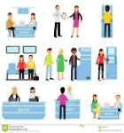 empleados-y-clientes-del-banco-en-diversas-situaciones-el-consultor-aconseja-al-cliente-gente-que-se-sienta-la-cola-conseguir-106369191
